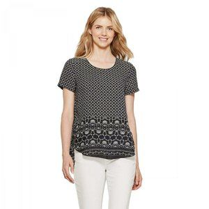 NWT Spense Woven Popover Top Small Black